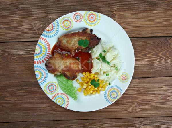 Wieprzowina kotlet tle mięsa obiad warzyw Zdjęcia stock © fanfo