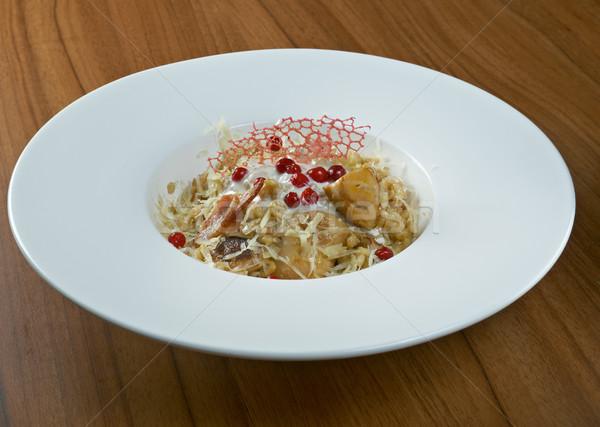 árpa rizottó gombák közelkép egészség konyha Stock fotó © fanfo