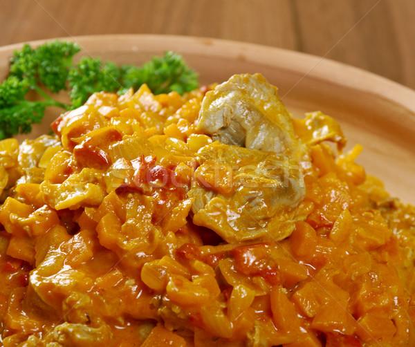 野菜 シチュー 鶏 レストラン プレート 唐辛子 ストックフォト © fanfo