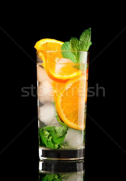 Mojito orange cocktail noir verres vert Photo stock © fanfo