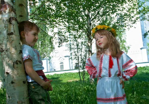 Russo pequeno menino menina ortodoxo igreja Foto stock © fanfo