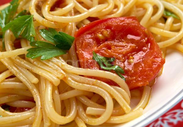 Spaghetti fresk żywności drewna warzyw cebula Zdjęcia stock © fanfo