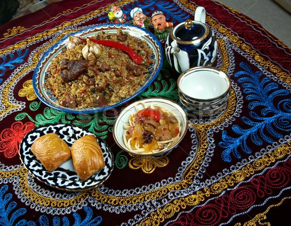 Gıda ayarlamak merkezi asya mutfağı Asya pişirme Stok fotoğraf © fanfo