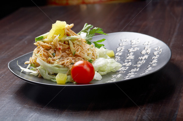 Japan salad with smoked chicken Stock photo © fanfo