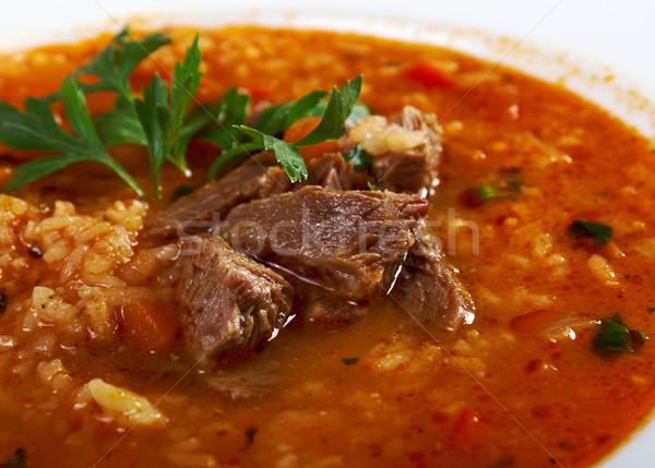 Sopa tradicional carne arroz alimentos pan Foto stock © fanfo