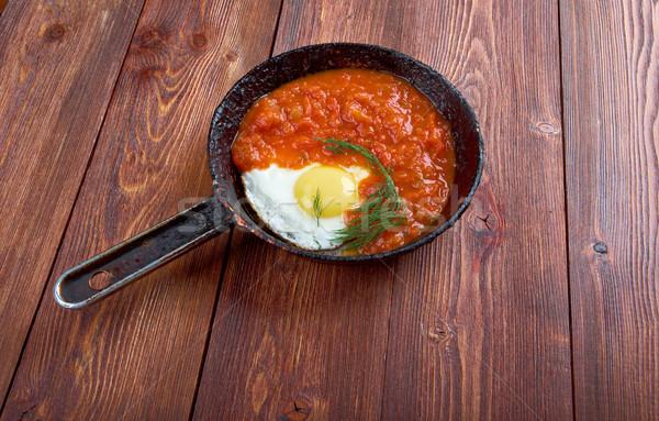 Matbucha and scrambled eggs Stock photo © fanfo