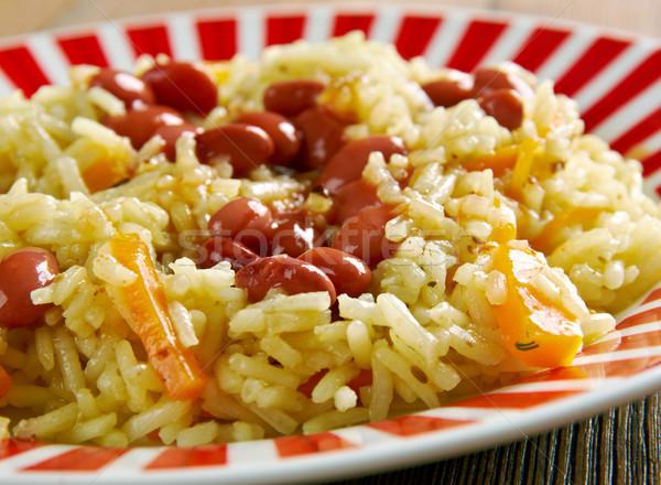Fasoli ryb warzyw jedzenie asia obiad Zdjęcia stock © fanfo