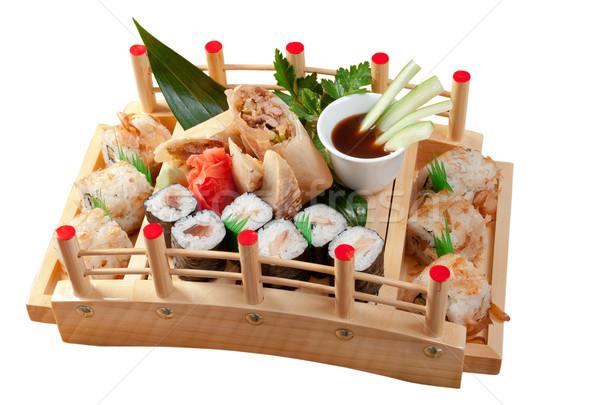 Sushi comida japonesa tradicional japonês fumado peixe Foto stock © fanfo