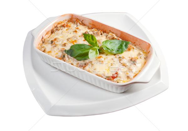 Lazanya sığır eti İtalyan mutfağı restoran peynir akşam yemeği Stok fotoğraf © fanfo