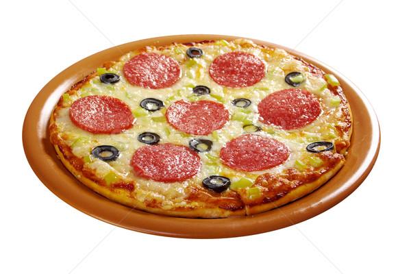 Casa pizza calabresa isolado branco queijo Foto stock © fanfo