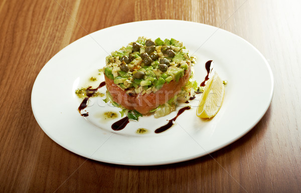 Salad with salmon with sauce.closeup Stock photo © fanfo