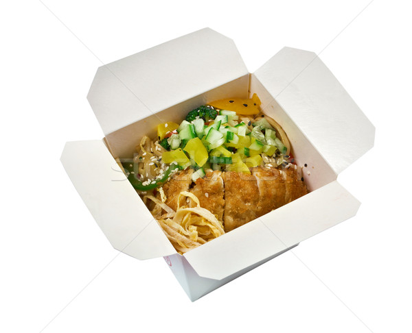 Pork roasted and udon-noodle. take-out food Stock photo © fanfo