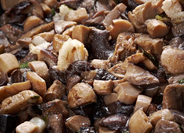 Delicious fried mushrooms in pan Stock photo © fanfo