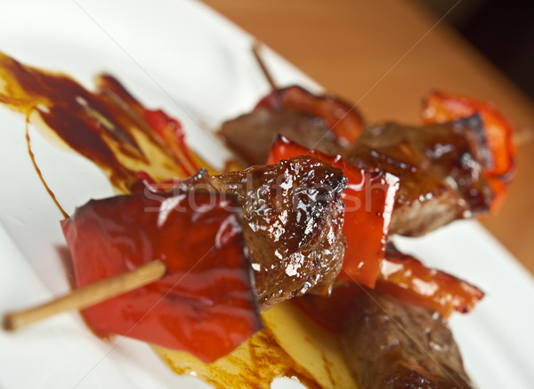 Stock photo: Shashlik (shish kebab) .veal and peppers