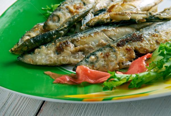 Stok fotoğraf: Hizmet · sebze · yemek · gıda · balık · yeme