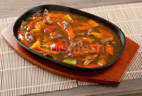 китайский кухня баранина растительное нефть обеда Сток-фото © fanfo
