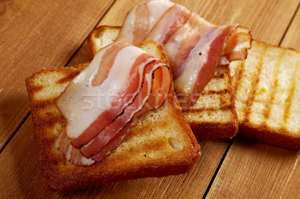 pile  toasted bread bacon Stock photo © fanfo