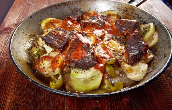 Stock fotó: Marhahús · bor · mártás · zöldségek · étterem · piros