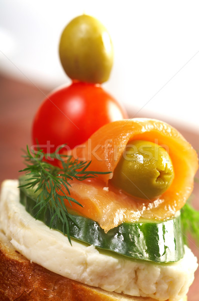 Canapes with smoked salmon  Stock photo © fanfo