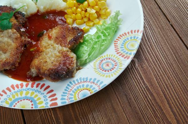 Disznóhús kotlett háttér hús ebéd zöldség Stock fotó © fanfo