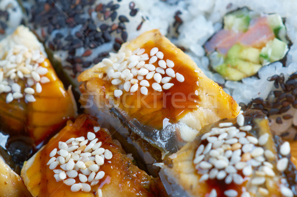 Roll made of Smoked eel Stock photo © fanfo