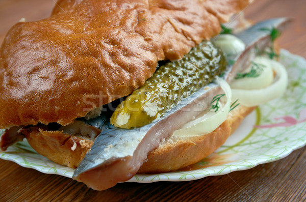 Traditional Dutch sandwich withherring Stock photo © fanfo
