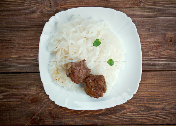 meat with vegetables and rice noodles Stock photo © fanfo