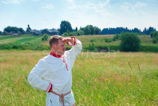 Adam rus elbise çim doğa Stok fotoğraf © fanfo