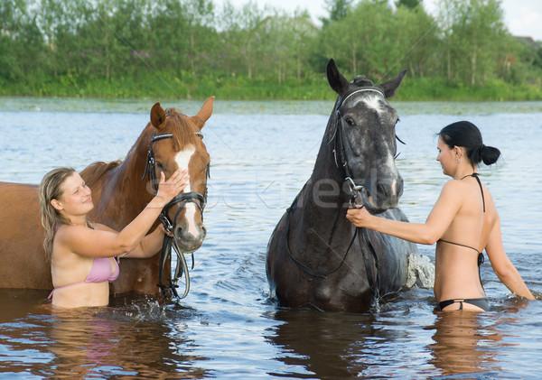 Lány ló folyó fiatal lány nő természet Stock fotó © fanfo