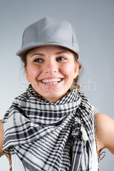 Belle fille cap gris fitness beauté Homme Photo stock © fanfo