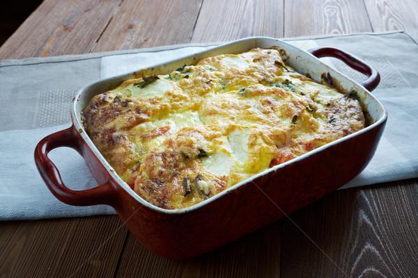 Foto stock: Abobrinha · tomates · pimenta · grego · refeição · pimenta
