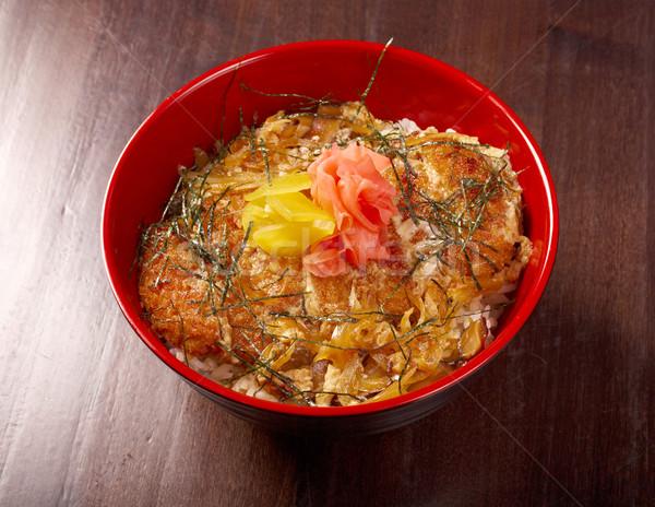 Stock fotó: Teriyaki · tyúk · rizs · hagyományos · japán · étel · piros