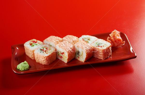 Maki sushi rolar atum salmão enguia Foto stock © fanfo