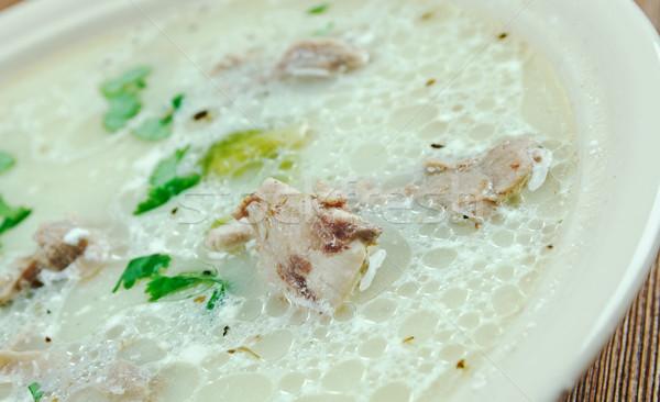 Tyúk spárga közelkép leves étel egészséges Stock fotó © fanfo