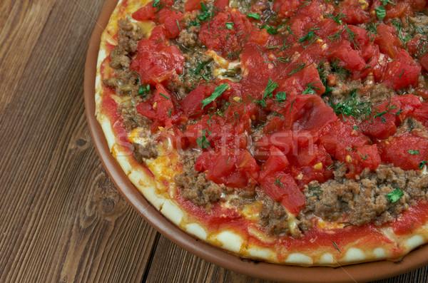 Vékony darab hús pizza sajt főzés Stock fotó © fanfo