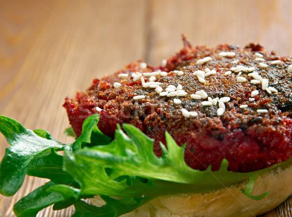 Negyed hamburger étel zöldség pirítós senki Stock fotó © fanfo