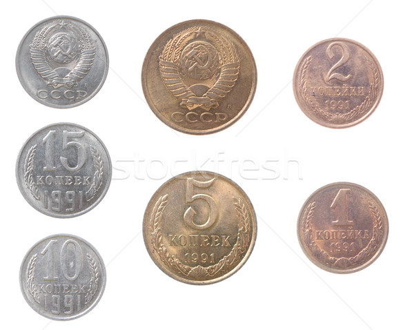 Russian coins.isolated on a white background Stock photo © fanfo