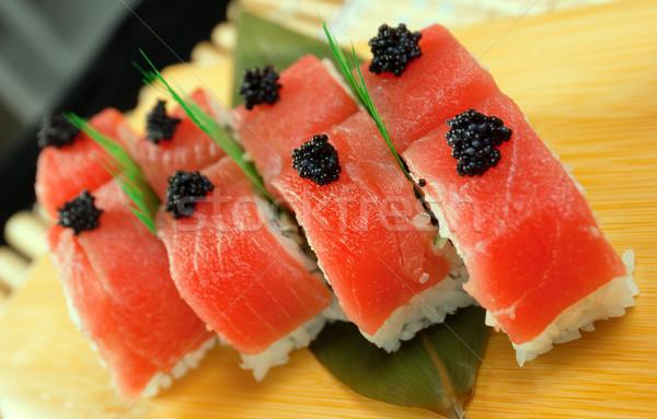 Japán szusi hagyományos hal étterem hús Stock fotó © fanfo