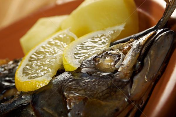 Makréla grill hal előkészített zöldségek étel Stock fotó © fanfo
