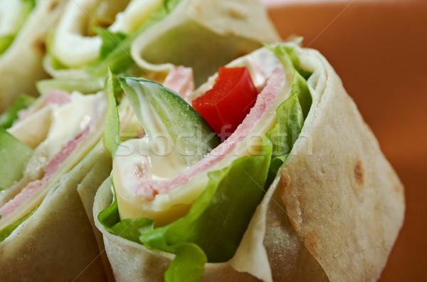 サンドイッチ ピタ麻 パン ロール チーズ 健康 ストックフォト © fanfo
