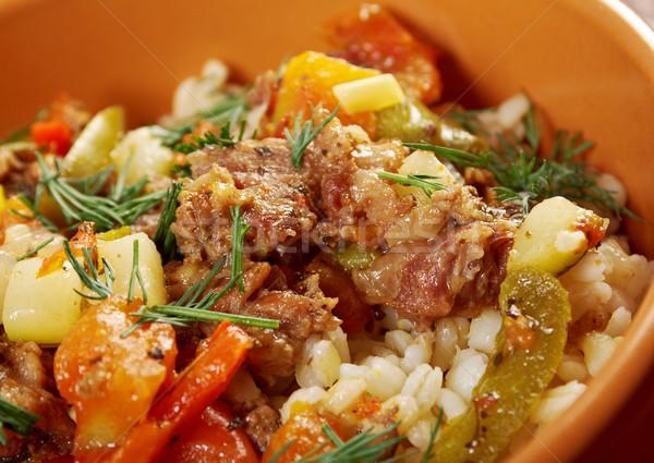 Gotowany perła jęczmień mięsa warzyw żywności Zdjęcia stock © fanfo