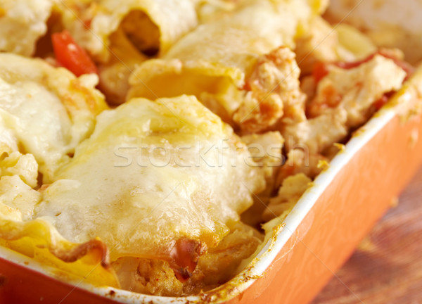 Pollo zucca lasagna ceramica piatto Foto d'archivio © fanfo