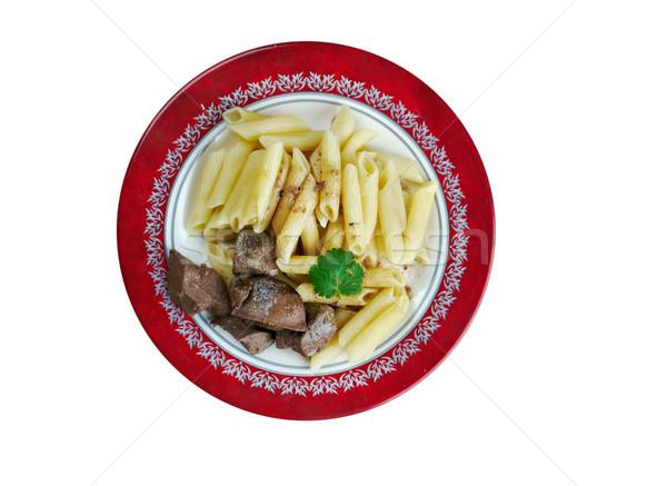 Finom tészta disznóhús máj olasz konyha étel Stock fotó © fanfo