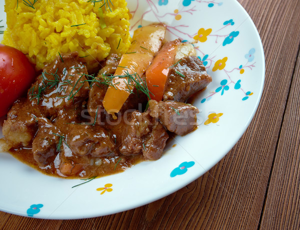 Servido amarelo arroz frito comida carne Foto stock © fanfo