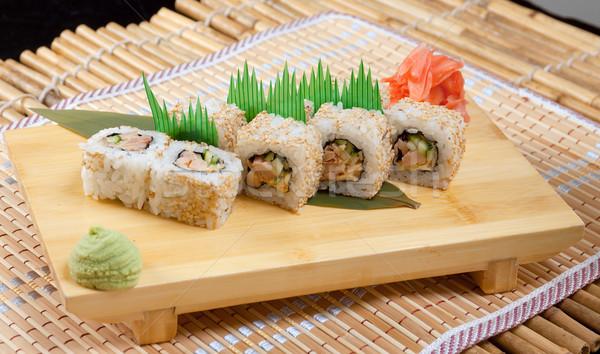 Japán szusi hagyományos japán étel hal étterem Stock fotó © fanfo