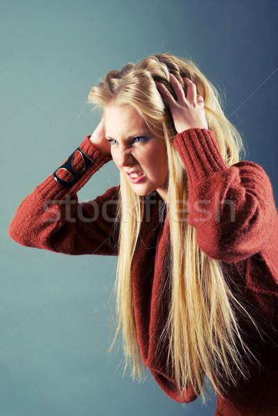 Młodych blond dziewczyna włosy szary ręce Zdjęcia stock © fanfo