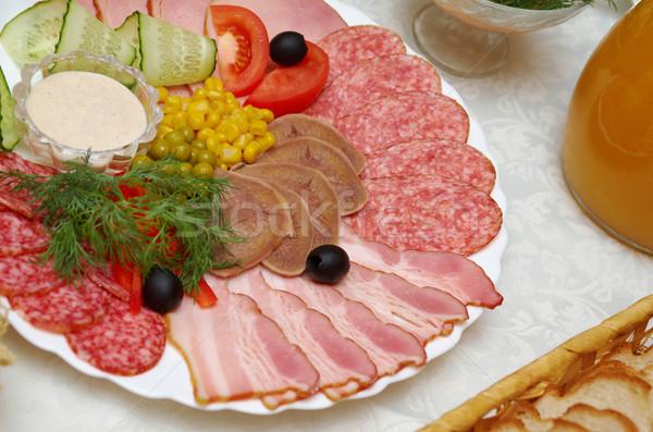 Varkensvlees arrangement ondiep Rood vlees Stockfoto © fanfo