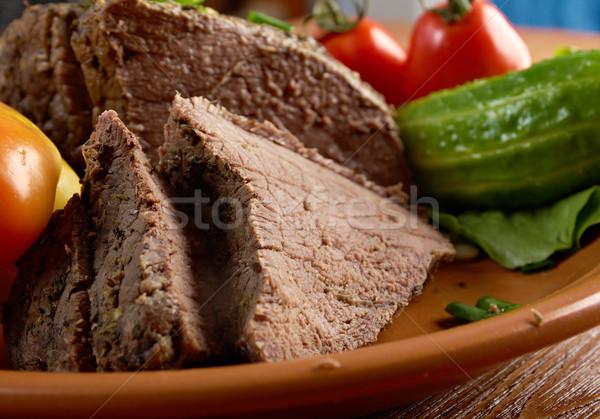 sliced rare roast beef farm-style Stock photo © fanfo