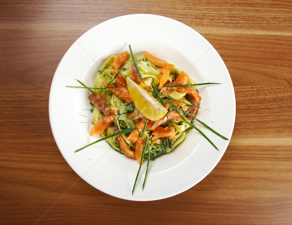 Fettuccine with salmon  Stock photo © fanfo