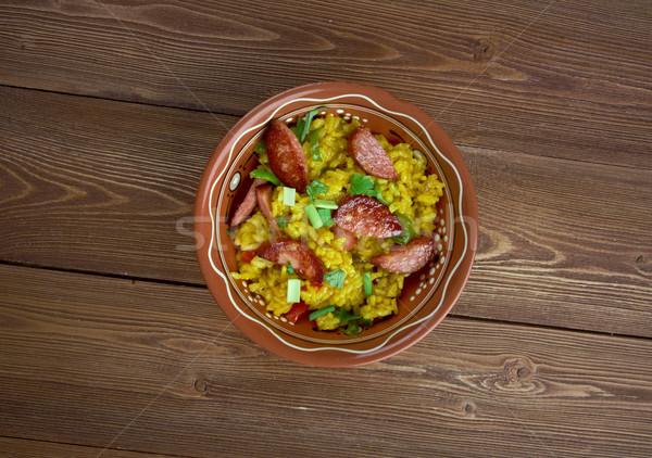汚い コメ 伝統的な 皿 白 鶏 ストックフォト © fanfo